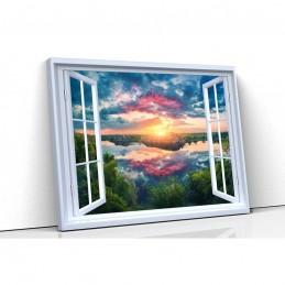 Tablou canvas fereastra lac...